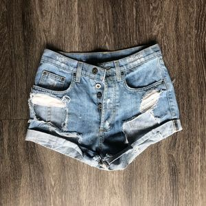Carmar ripped jean shorts